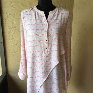 Pink and cream colored  3/4 or long sleeve tunic